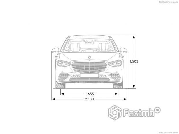 Mercedes-Benz S-Class 2021, габариты в фас