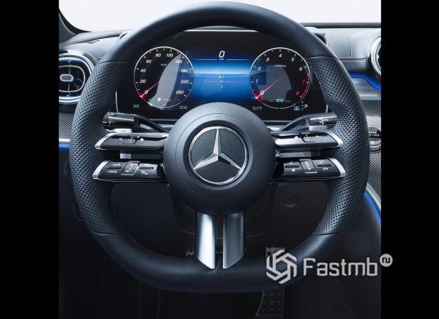 Mercedes-Benz C-Class 2021, цифровая панель приборов и руль
