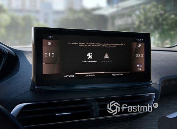 Peugeot 5008 2021, дисплей мультимедийной системы