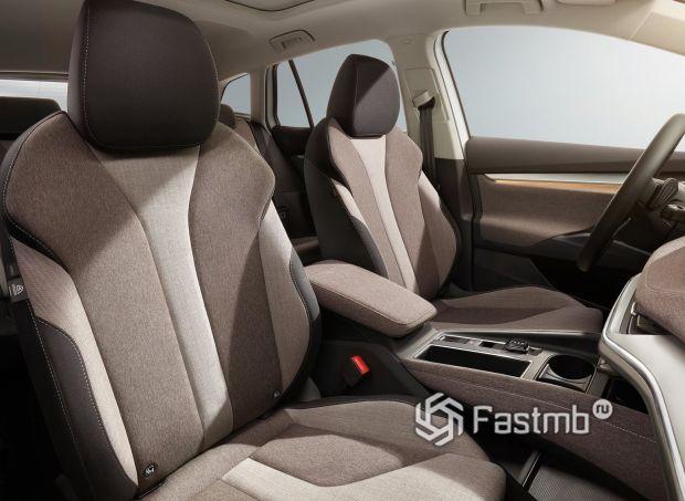 Skoda Enyaq iV 2021, тканевая обшивка передних сидений