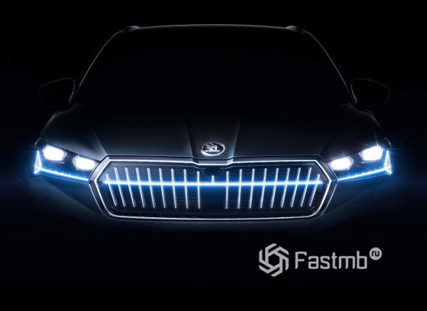 Skoda Enyaq 2021, LED подсветка передка электрокара