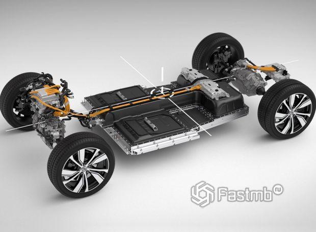 Volvo XC40 Recharge 2022, электродвигатель и батарея