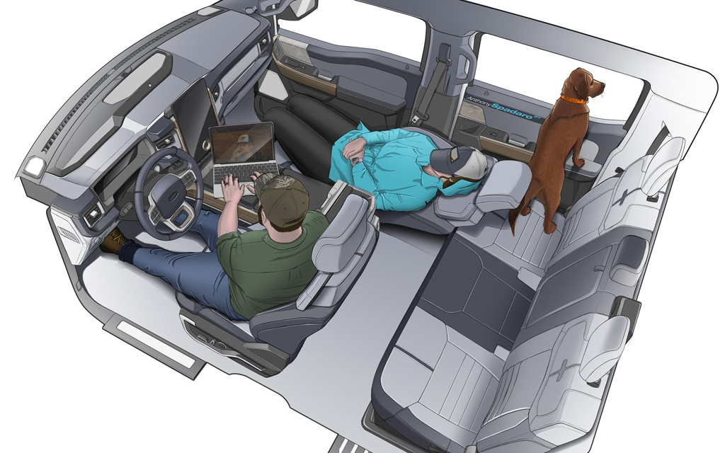 Ford F-150 Lightning 2021, центральный тоннель