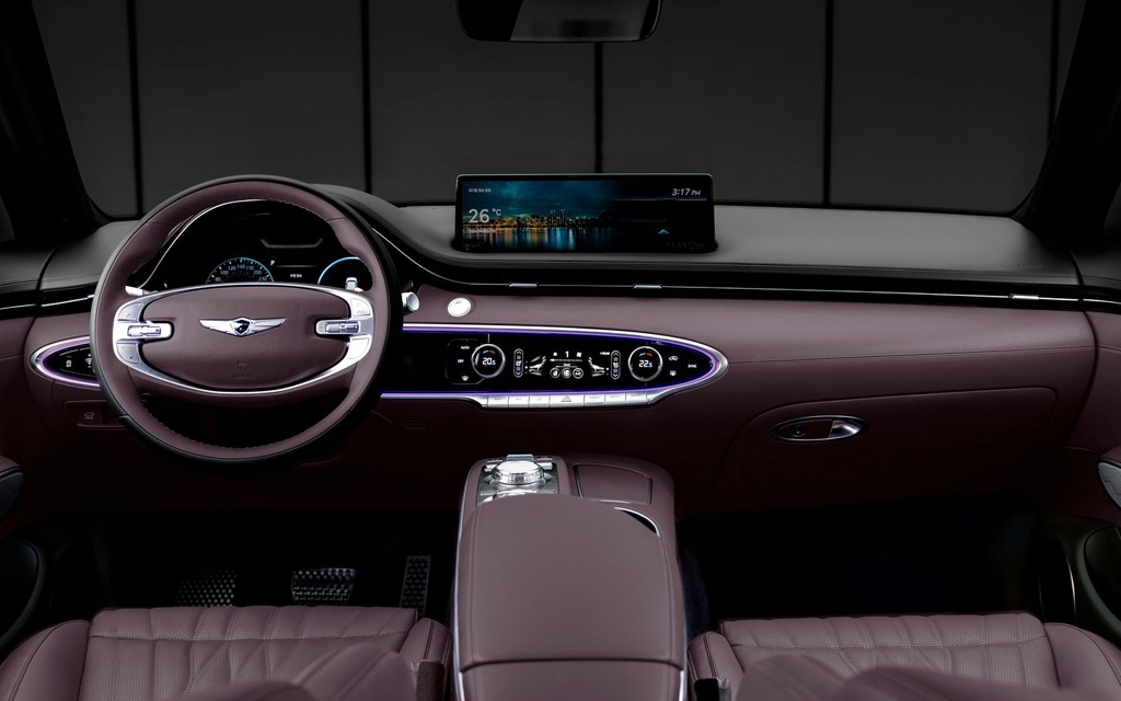 Genesis GV70 2021, рулевое колесо на 2 спицы