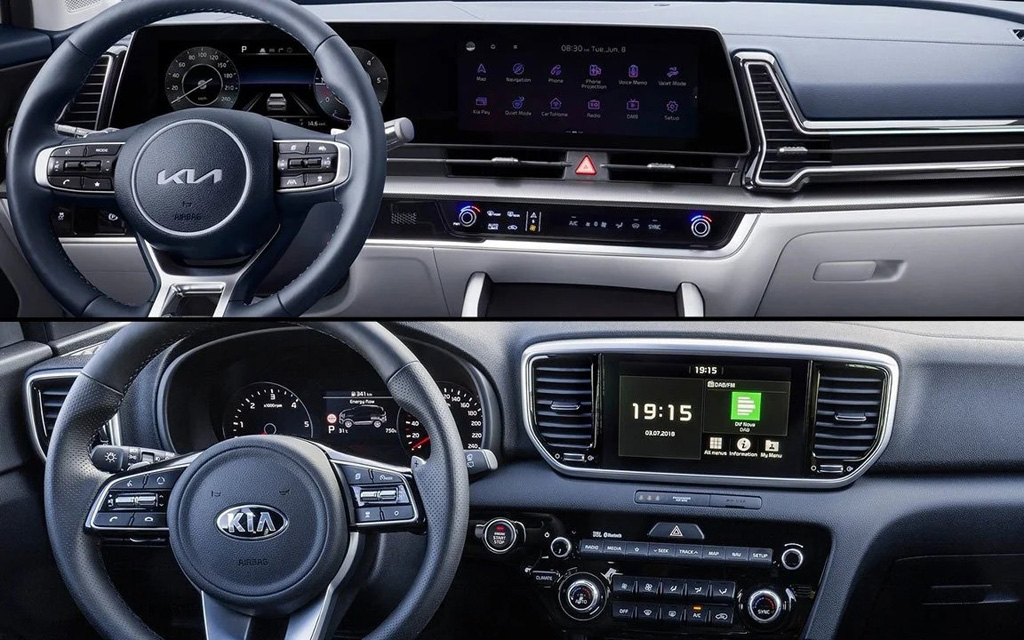 Сравнение передней панели Kia Sportage 5 и 4 поколения