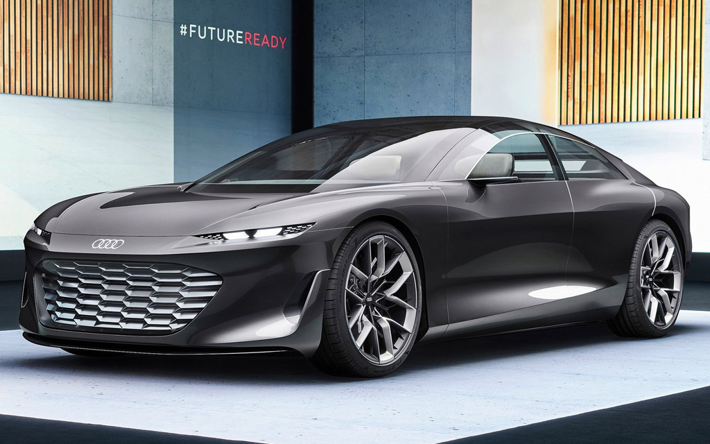 Концепт электрокар Audi Grandsphere 2022 — выдвижной руль и цветы в салоне